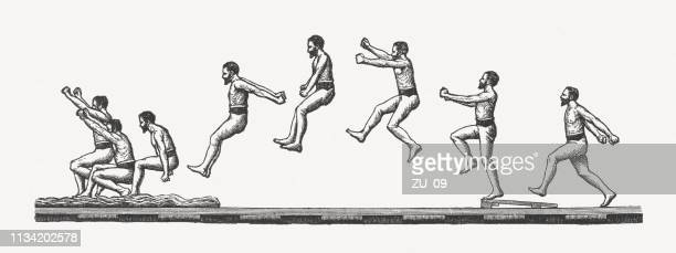 moment photographs of a jumping man, wood engraving, published 1897 - long jump stock illustrations