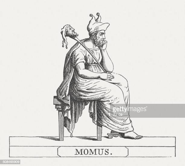 momus, greek god of ridicule, wood engraving, published in 1878 - teasing stock illustrations, clip art, cartoons, & icons