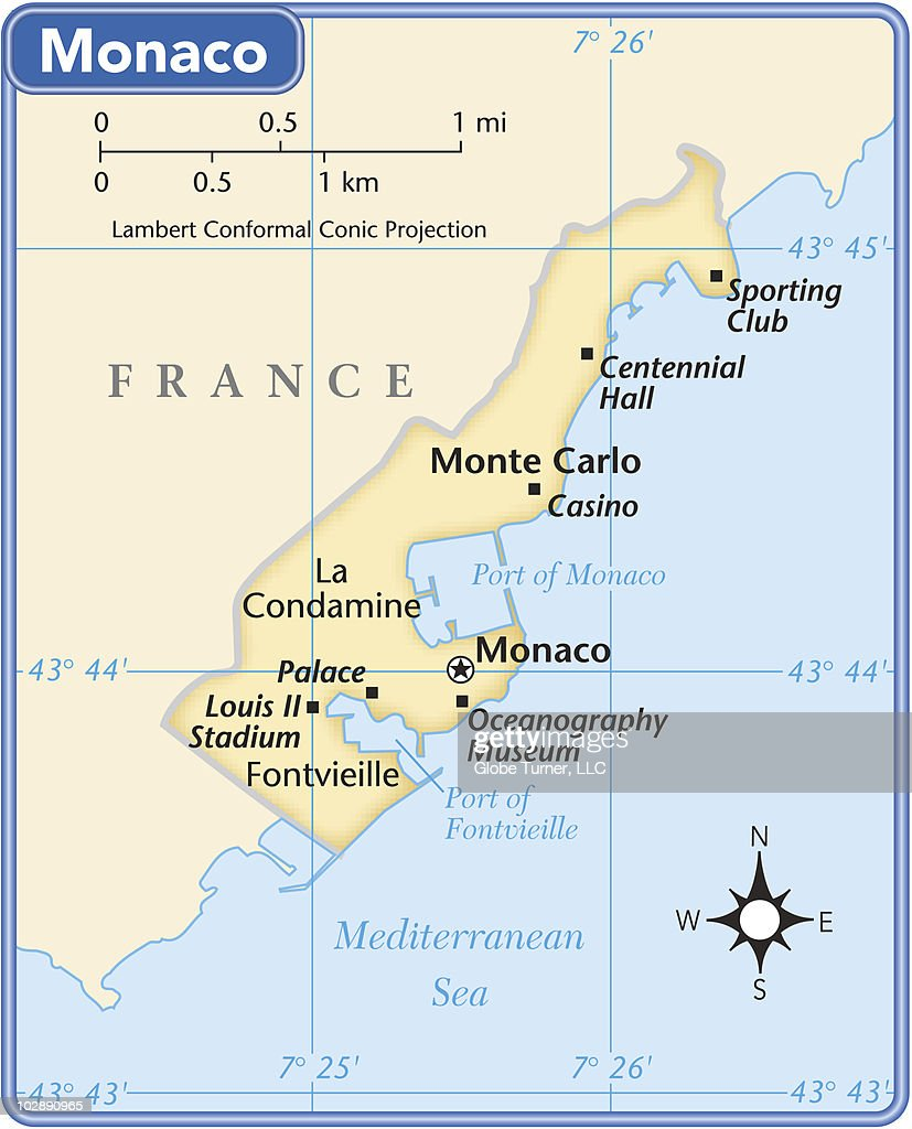 Monaco Country Map Vector Art Getty Images - Is monaco a country