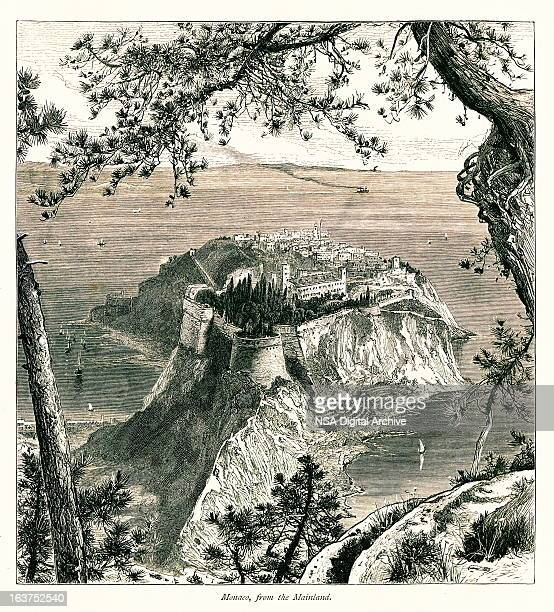 monaco i antique european illustrations - france stock illustrations