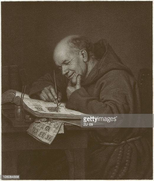 monastery genius, lithograph, published in 1873 - religious dress stock illustrations, clip art, cartoons, & icons