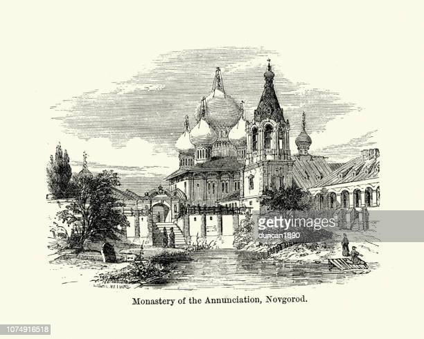 monastery of annunciation, novgorod, russia, 19th century - onion dome stock illustrations, clip art, cartoons, & icons
