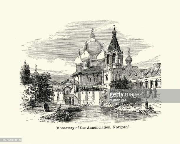 ilustrações, clipart, desenhos animados e ícones de mosteiro da anunciação, novgorod, rússia, século xix - cúpula estilo russo