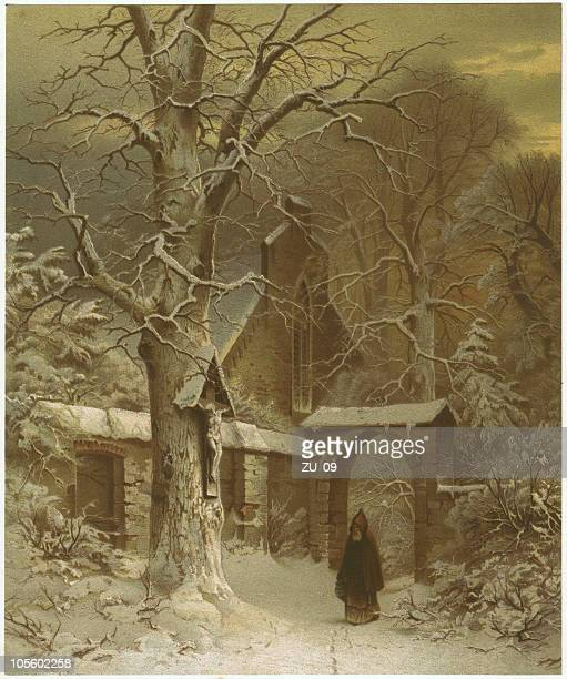 Monastery yard in winter, by S. Jacobsen, lithograph, published 1870