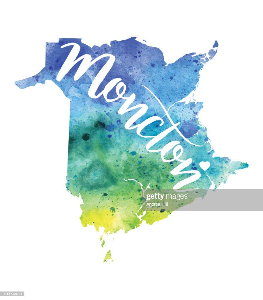 Moncton New Brunswick Canada Vector Watercolour Map Raster