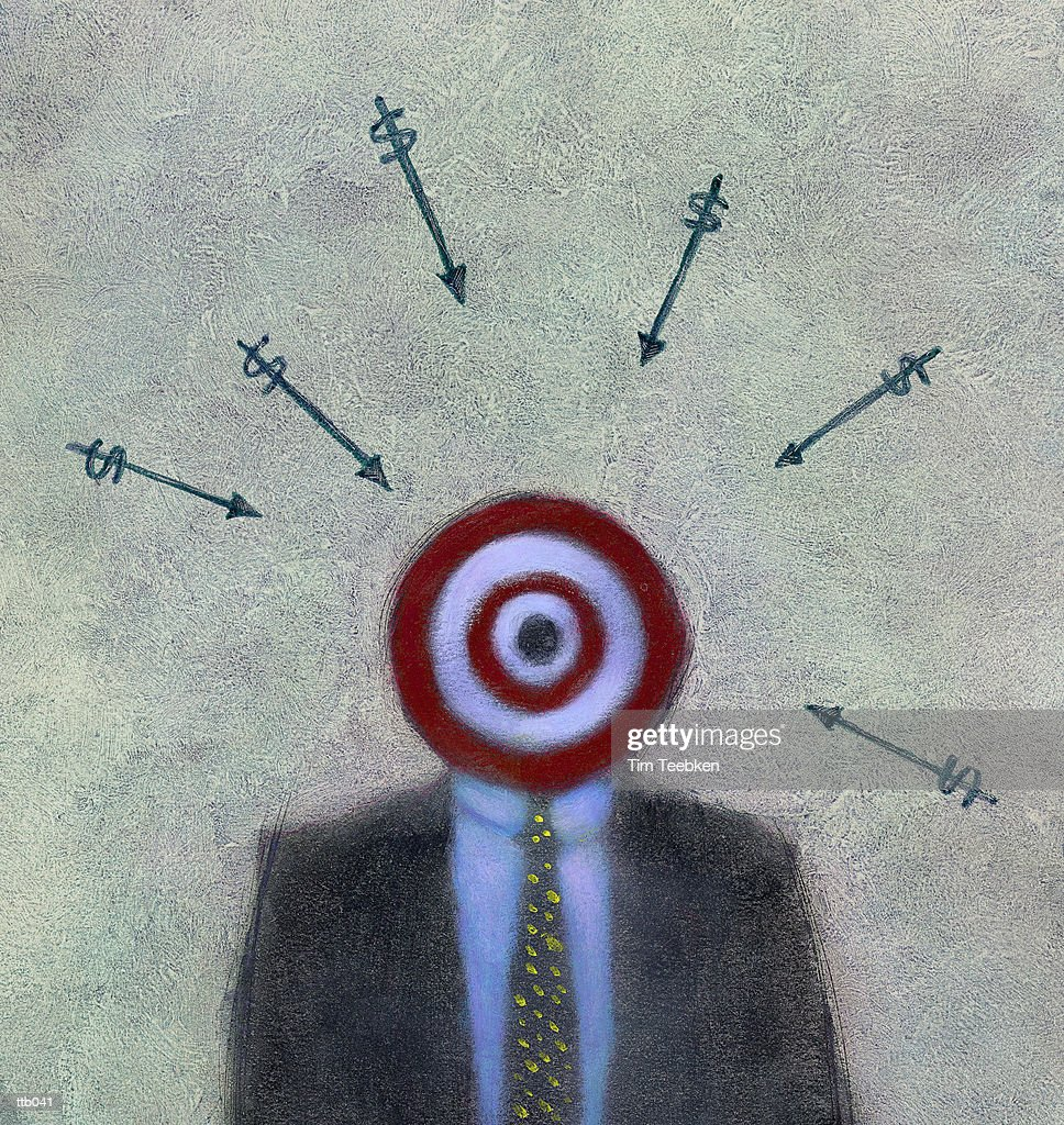 Money Aiming for Target : Stockillustraties
