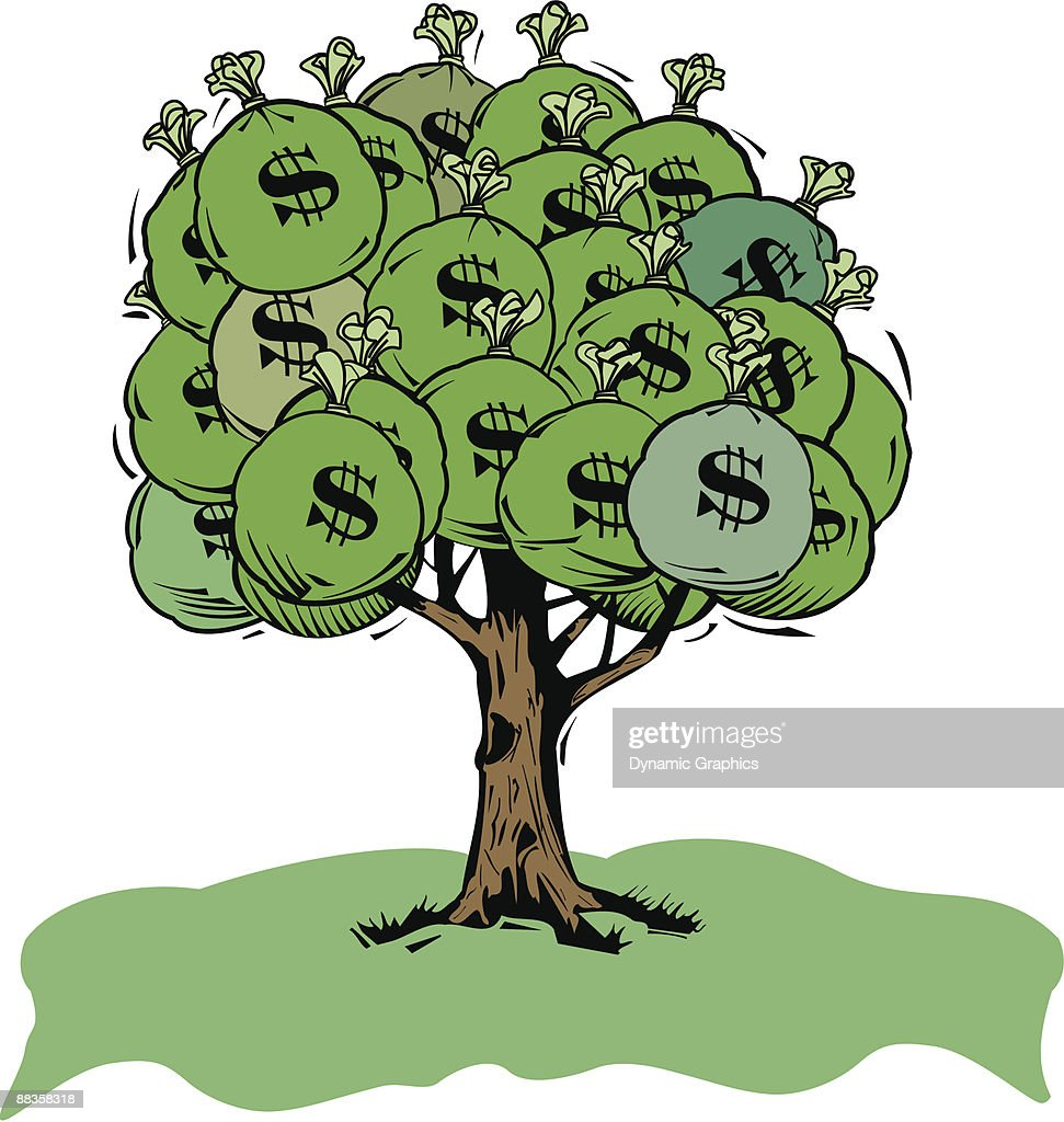 Money Bags On Tree Grouped Elements Color Illustrator Ver 5 Money ...