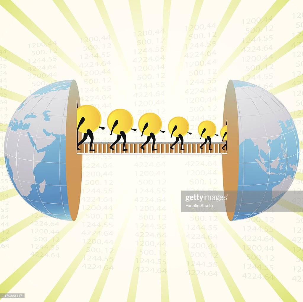 Money being transferred from one part of globe to another : stock illustration