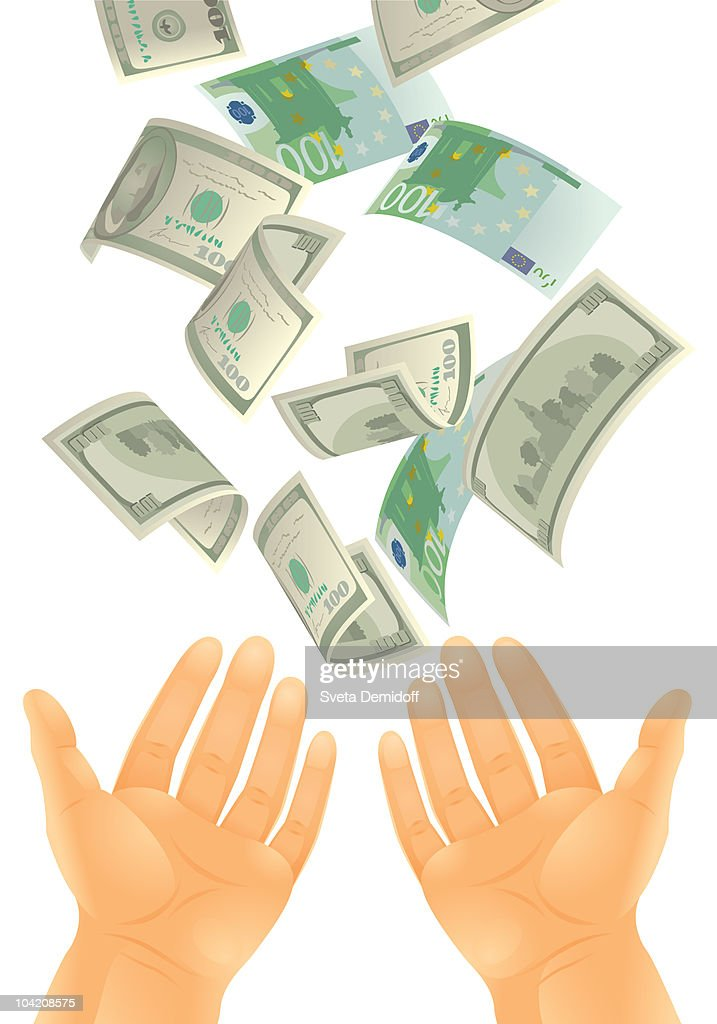 money falling into the hands : stock illustration