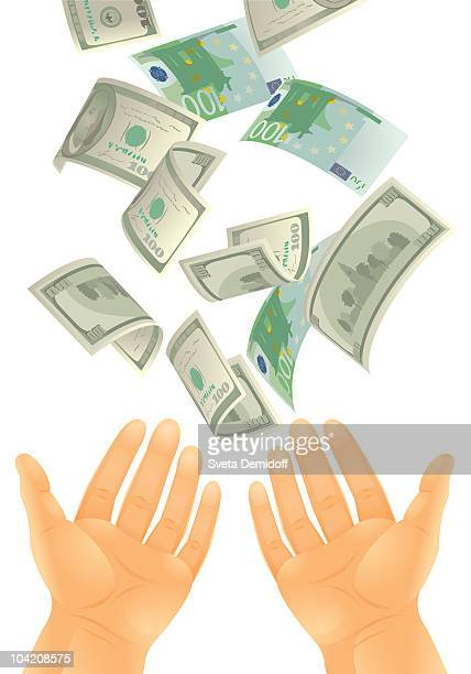 money falling into the hands - cash flow stock illustrations, clip art, cartoons, & icons