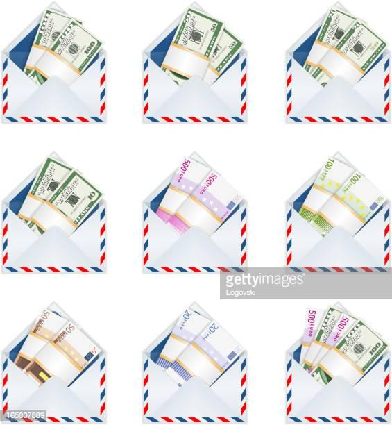 stockillustraties, clipart, cartoons en iconen met money in envelope - e mail