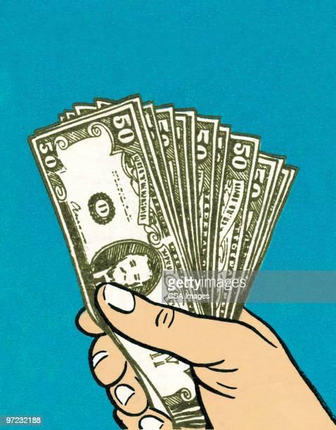ilustraciones, imágenes clip art, dibujos animados e iconos de stock de money in hand - fajo de billetes