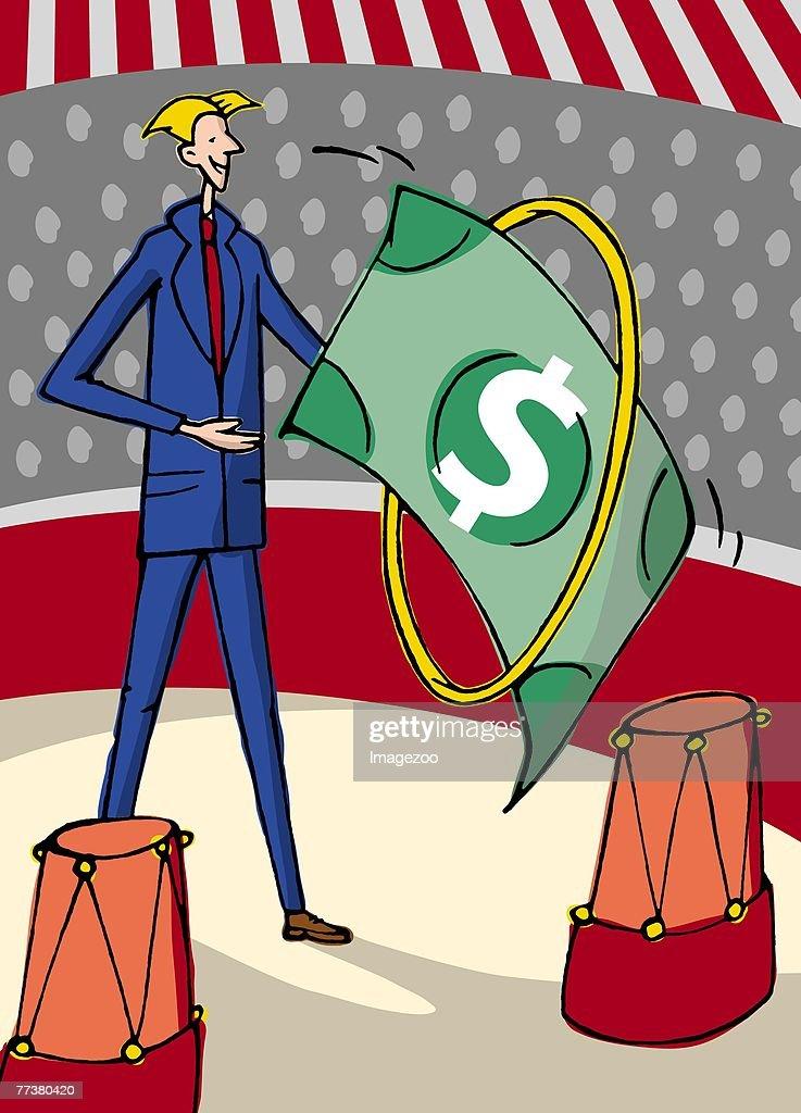 money jumping through hoops : Illustration