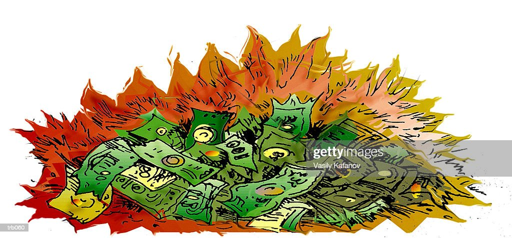 Money on Fire : stock illustration