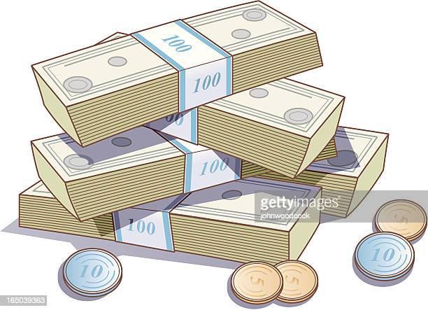 ilustraciones, imágenes clip art, dibujos animados e iconos de stock de montón de dinero - fajo de billetes