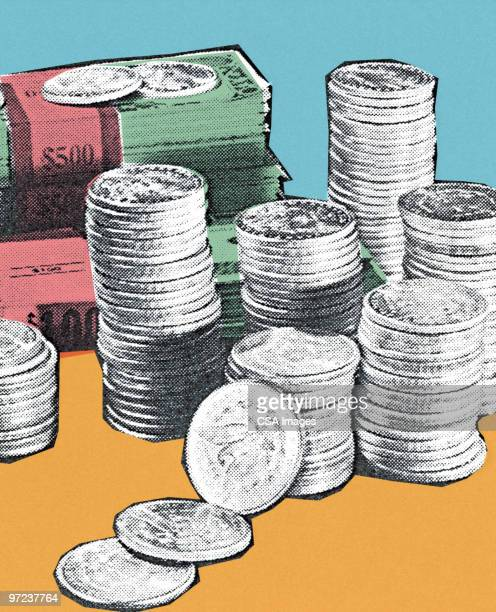 money pile - stack stock illustrations