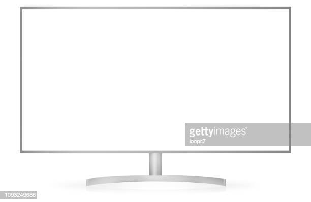 Monitor or TV Isolated on White with Clipping Path for Screen