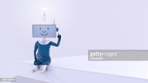 monitor-headed manikin sitting on desk, thinking with burning light bulb hovering over his head - automated stock illustrations