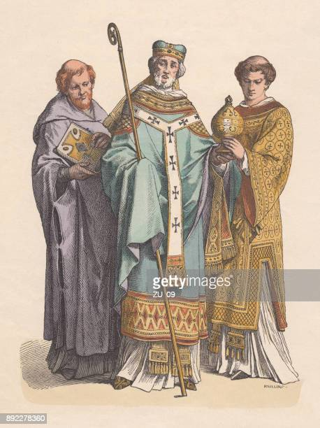 monk, bishop, priest, 11th century, hand-colored wood engraving, published c.1880 - bishop clergy stock illustrations, clip art, cartoons, & icons