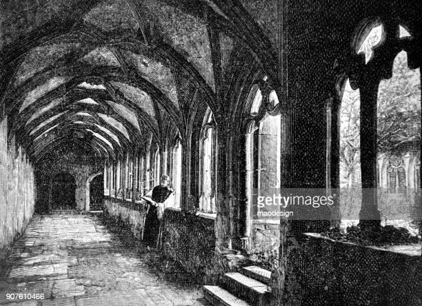 Monk is het bestuderen van de Bijbel in het klooster - 1896