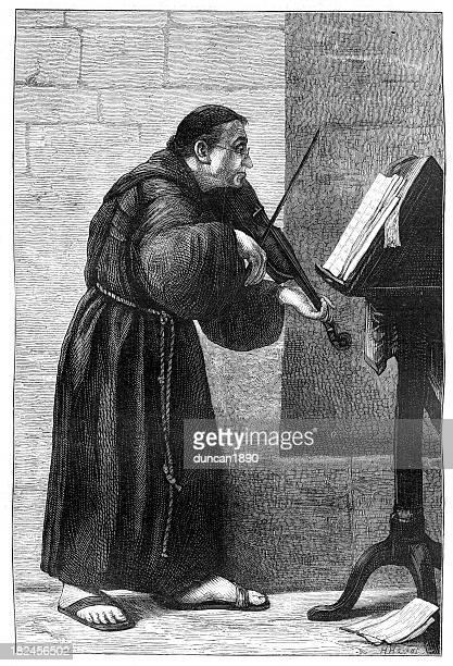 illustrations, cliparts, dessins animés et icônes de moine jouer au violon - pupitre à musique