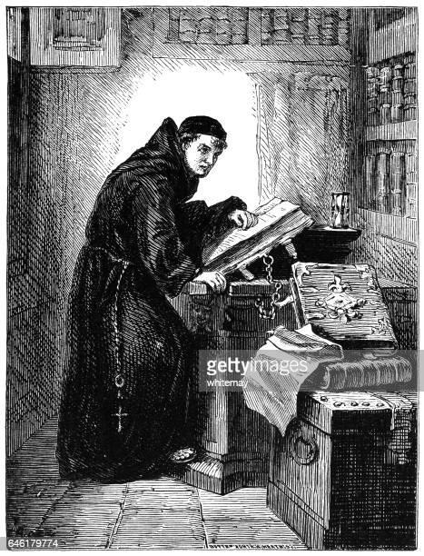 モンク (ビクトリア朝の彫刻) ライブラリで読書 - 聖職服点のイラスト素材/クリップアート素材/マンガ素材/アイコン素材