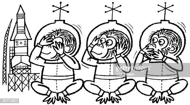 monkey astronauts - chimpanzee stock illustrations, clip art, cartoons, & icons