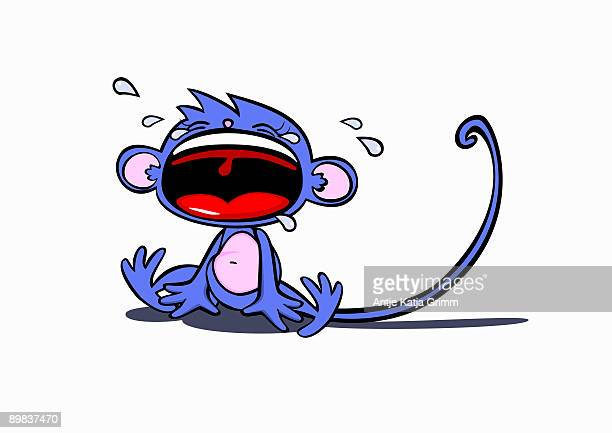 a monkey crying and throwing a tantrum - teardrop stock illustrations
