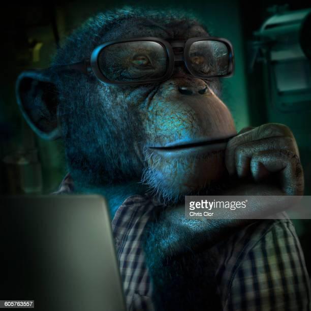 monkey in eyeglasses resting chin in hand - digital composite stock illustrations
