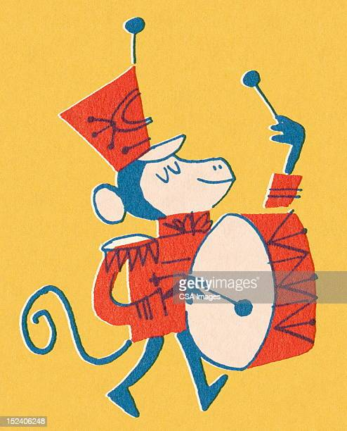Monkey Playing Base Drum