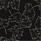 monochrome seamless pattern of autumn leaves