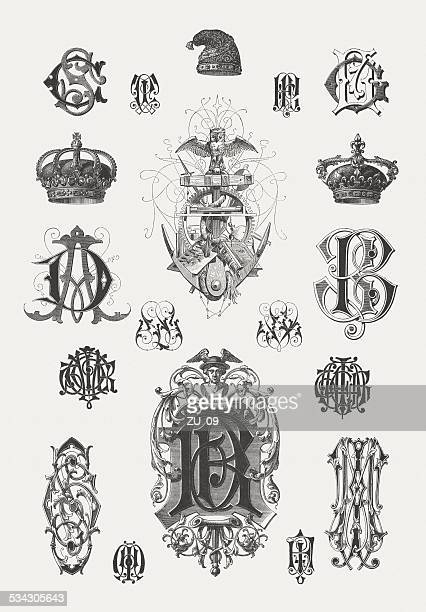 Monograms, designed by Martin Gerlach (1846-1918), wood engravings, published 1882