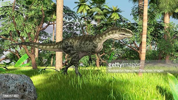 Monolophosaurus in a prehistoric tropical landscape.