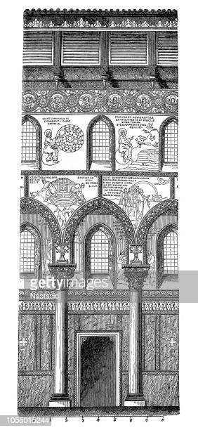 monreale cathedral near palermo, sicily, italy - sicily stock illustrations, clip art, cartoons, & icons