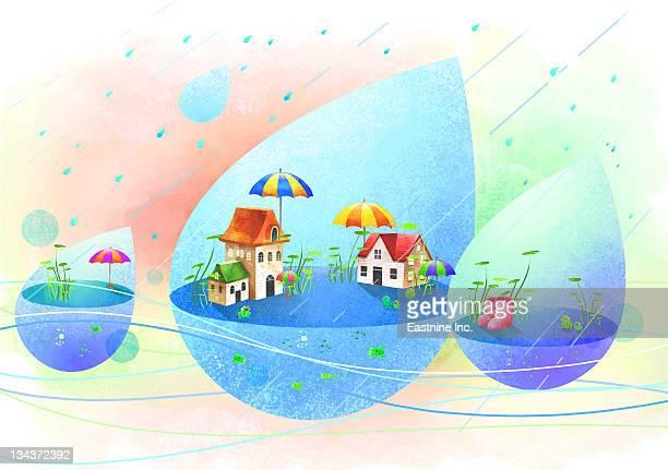 monsoon season - monsoon stock illustrations, clip art, cartoons, & icons