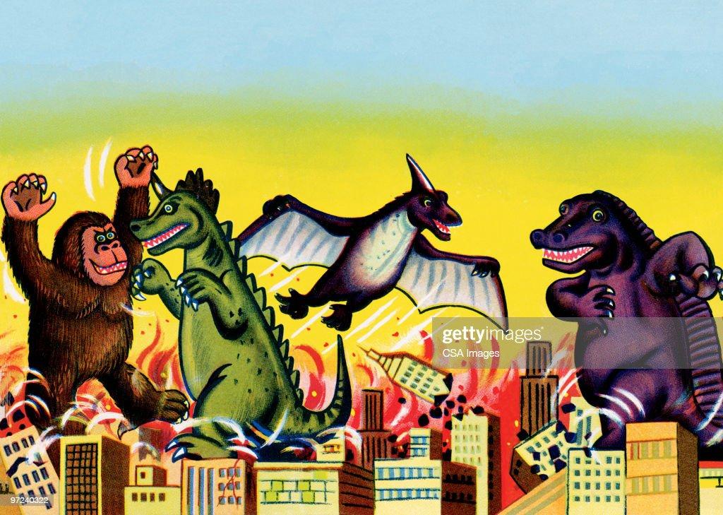 Monster battle : stock illustration