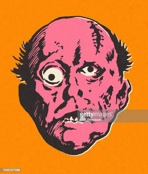 monster face - ugly bald man stock illustrations