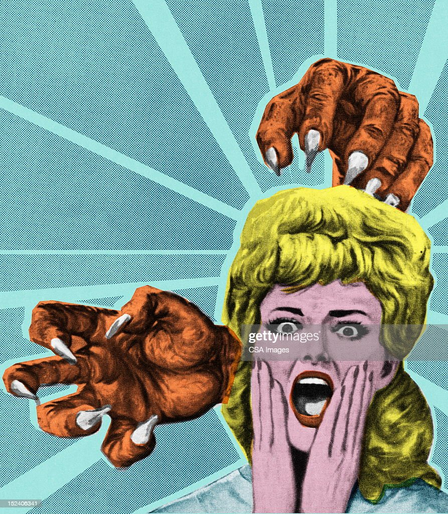 Monster Hands and Screaming Woman : stock illustration