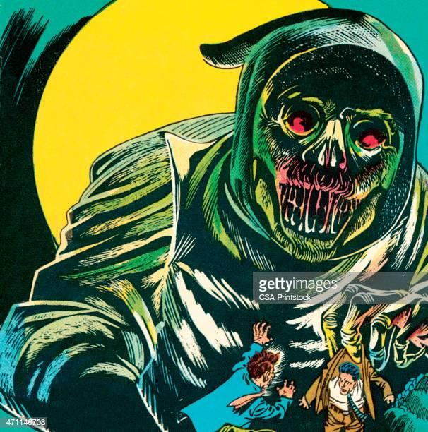 ilustraciones, imágenes clip art, dibujos animados e iconos de stock de monster - la muerte