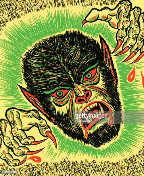 ilustrações de stock, clip art, desenhos animados e ícones de monster - lobisomem