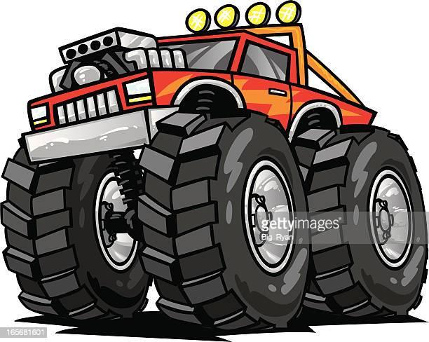 ilustraciones, imágenes clip art, dibujos animados e iconos de stock de carro de monstruo - monstertruck