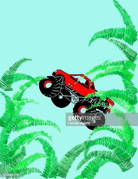ilustraciones, imágenes clip art, dibujos animados e iconos de stock de monster truck safari - monstertruck
