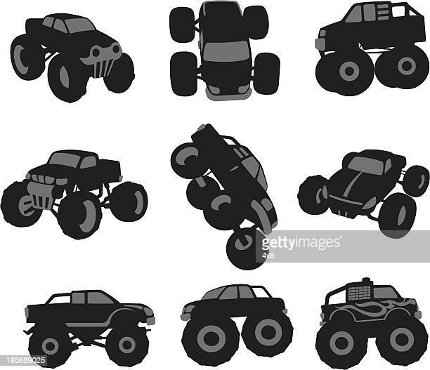 ilustraciones, imágenes clip art, dibujos animados e iconos de stock de monster camiones - monstertruck