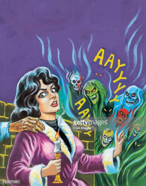 monsters attack brunette - zombie stock illustrations, clip art, cartoons, & icons