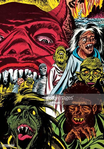 ilustrações de stock, clip art, desenhos animados e ícones de monsters - lobisomem