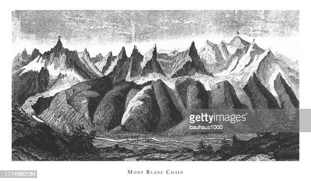 mont blanc chain, stratification in mountains and basins; fissures and craters engraving antique illustration, published 1851 - mont blanc stock illustrations, clip art, cartoons, & icons