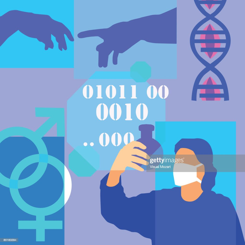 Montage Illustration About Genetic Research Containing Dna