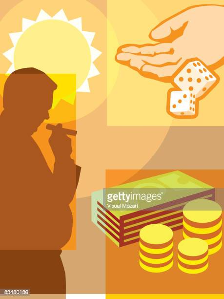 a montage of a man smoking cigar, money, sun, and hand throwing a pair of dice - flipping a coin stock illustrations, clip art, cartoons, & icons