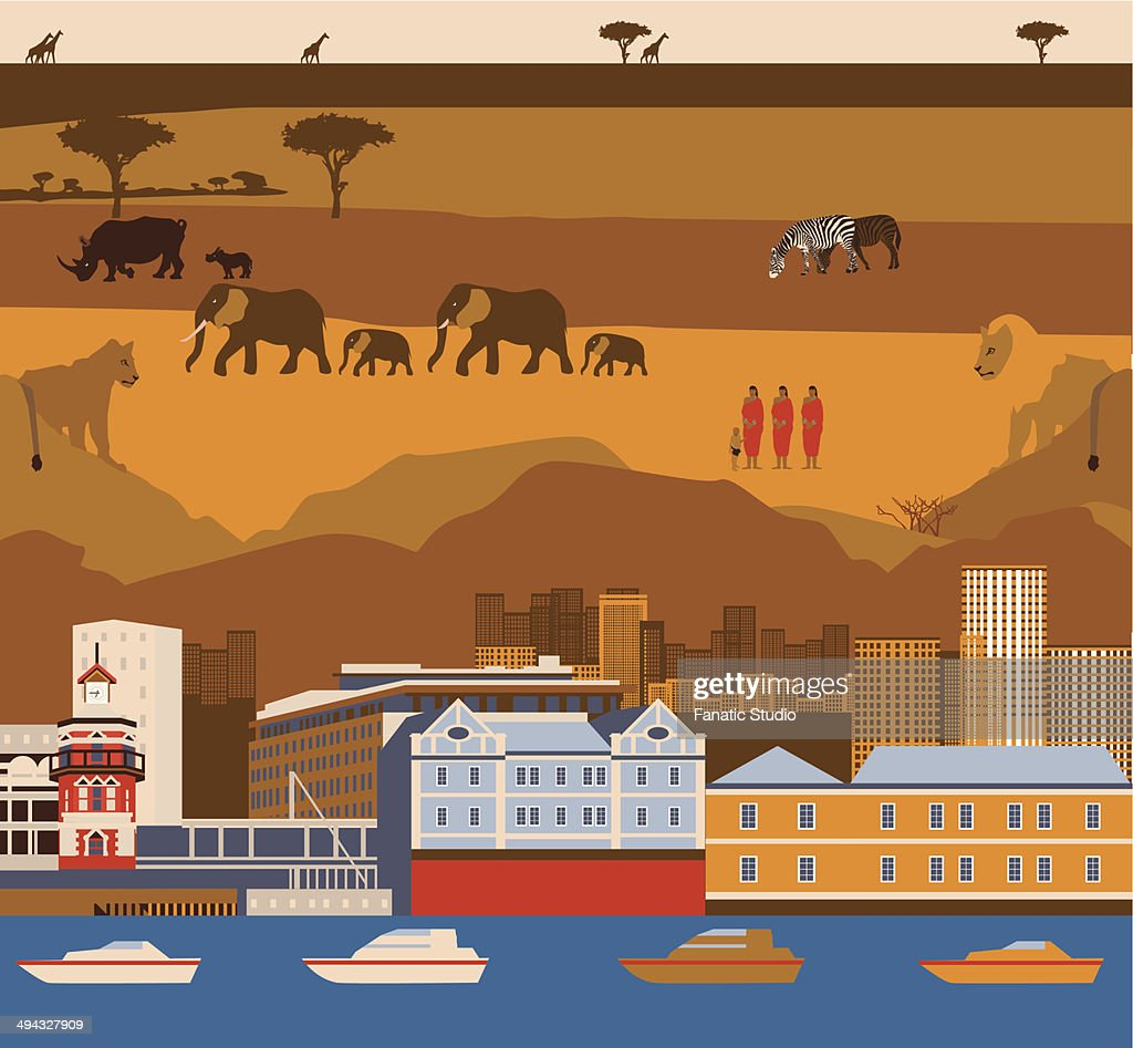 Montage of Cape Town waterfront with South African wildlife and tribal people : stock illustration