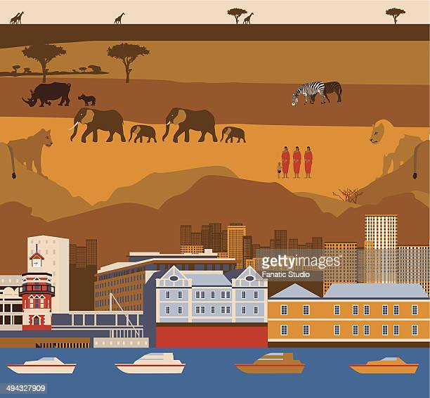 Montage of Cape Town waterfront with South African wildlife and tribal people